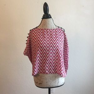 Do & Be pink blue white blouse strap stripe zigzag